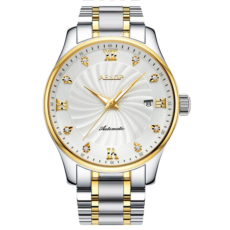 2020新款伊索手表全自动机械表男士防水时尚休闲商务夜光精钢男表