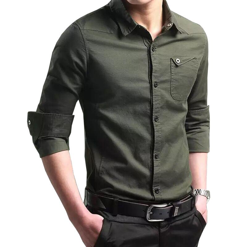 夏季男士衬衫男长袖商务修身韩版潮流帅气寸衣纯棉军工装薄款衬衣