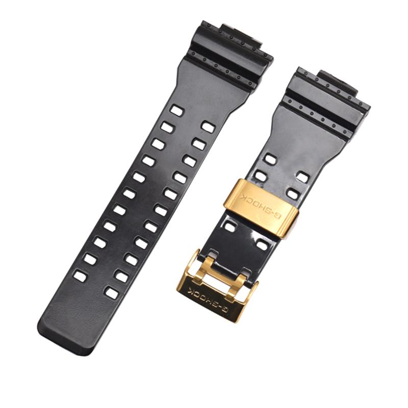 亮面黑色表带金色针扣 shock g 男 ga400 黑金表带配件 ga110gb 卡西欧