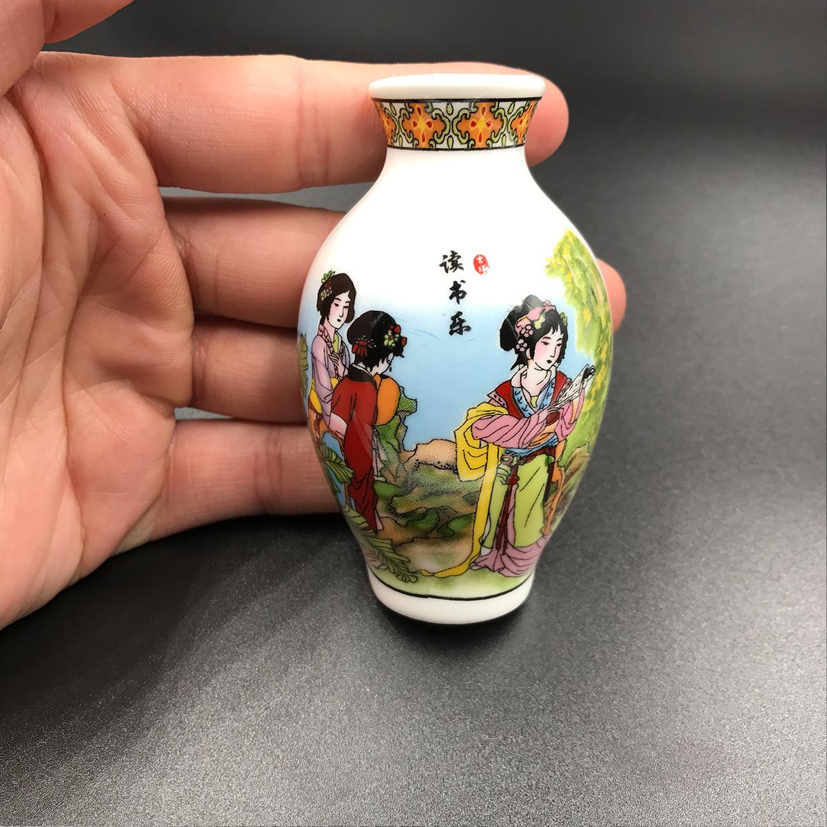 中国风陶瓷青花瓷花瓶冰箱贴纪念品家居饰品商务送老外礼品磁铁