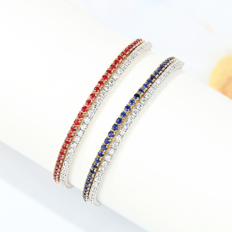 时尚精致双排蓝宝石手饰女 18k  宝石矿工 金双色金红宝石钻石手链