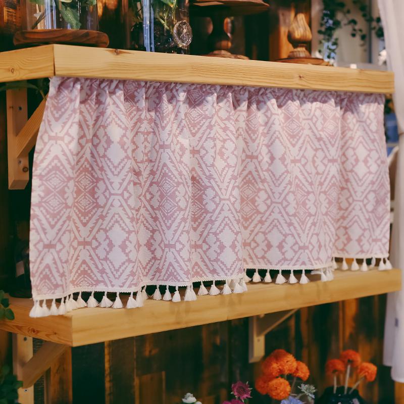 布帘子遮挡橱柜短门帘民族风防尘免打孔半帘小窗帘隔断帘家用装饰