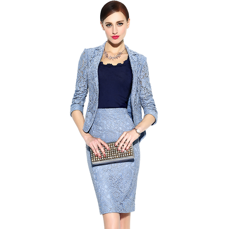 颈袖添香2019春夏新款气质正装蕾丝职业装套裙时尚韩版西装套装女