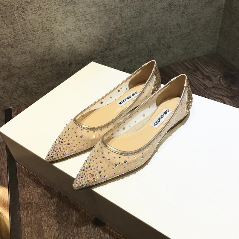夏季新款透气网纱水钻平底鞋尖头浅口软底亮片舒适镂空单鞋女 2020