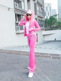 2020春秋韩版天鹅金丝绒运动套装女休闲连帽运动服阔腿裤两件套潮