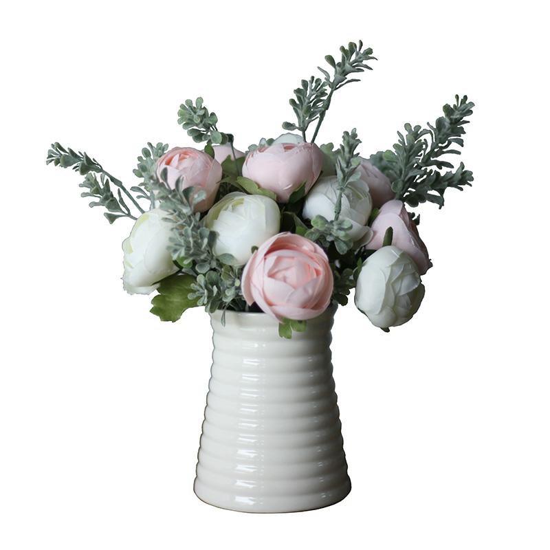 简欧风格现代时尚田园简约白色螺纹陶瓷花瓶茶几餐桌花艺套装包邮