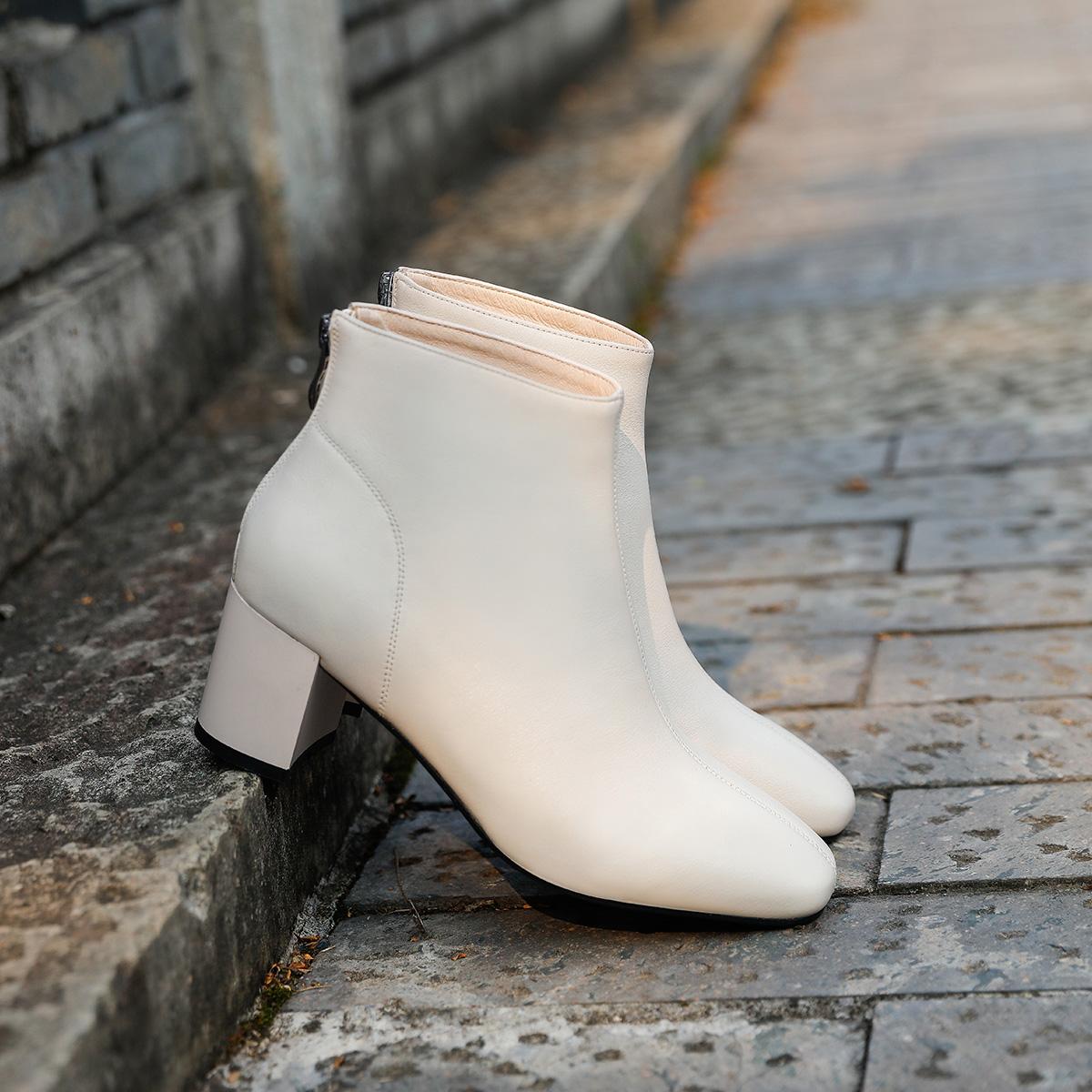63218 秋冬新款牛皮女靴气质粗高跟时装靴 2019 欧琦蔓英伦风短靴女