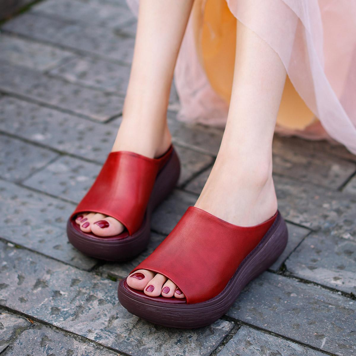 欧琦蔓2019新款简约牛皮凉拖女厚底坡高跟拖鞋女夏时尚外穿42091