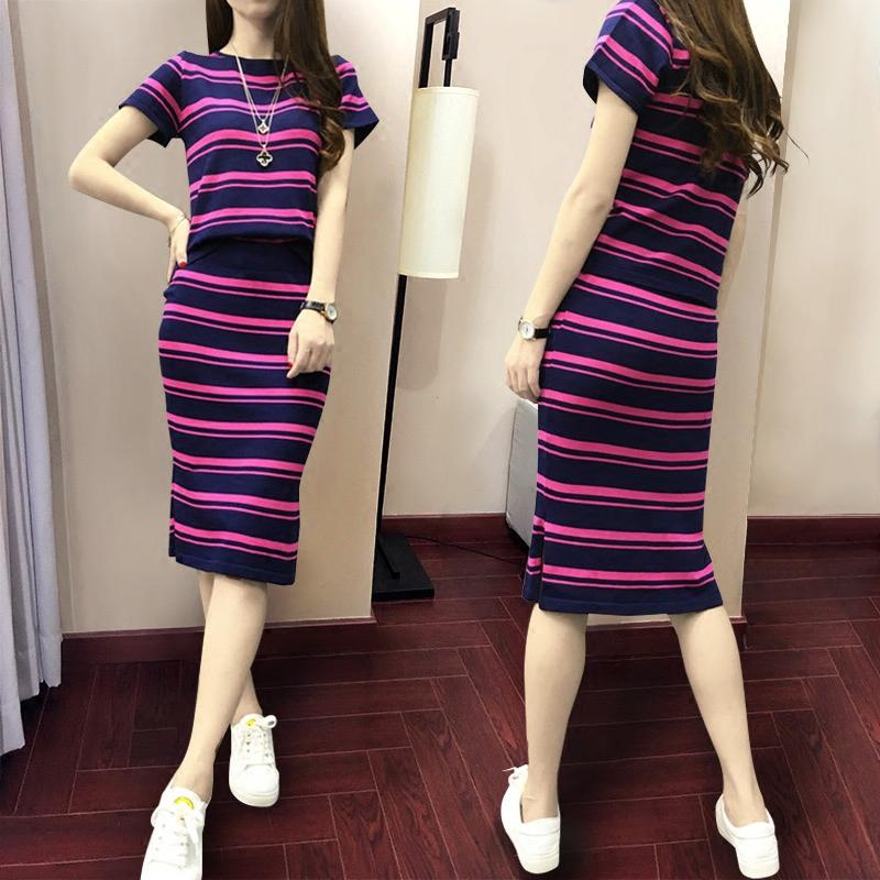 韩版春夏季短袖条纹包臀针织套装裙子女装名媛气质时尚淑女两件套
