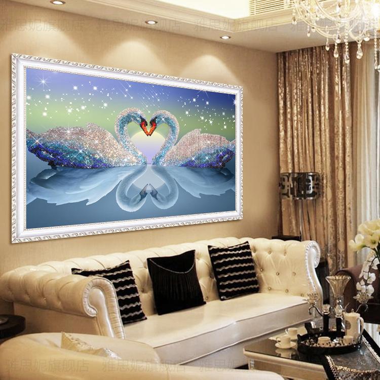 钻石画2019水晶满钻新款客厅5D心心相印天鹅点贴砖小件家用十字绣