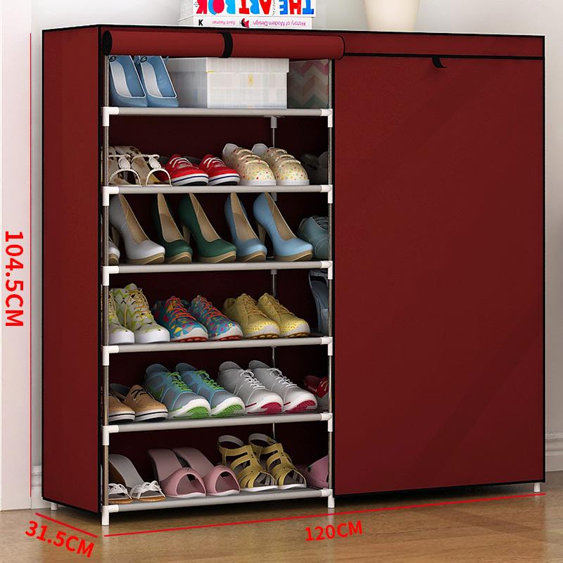 简易鞋柜鞋架组装多层鞋架铁艺家用收纳现代简约防尘布鞋柜多功能