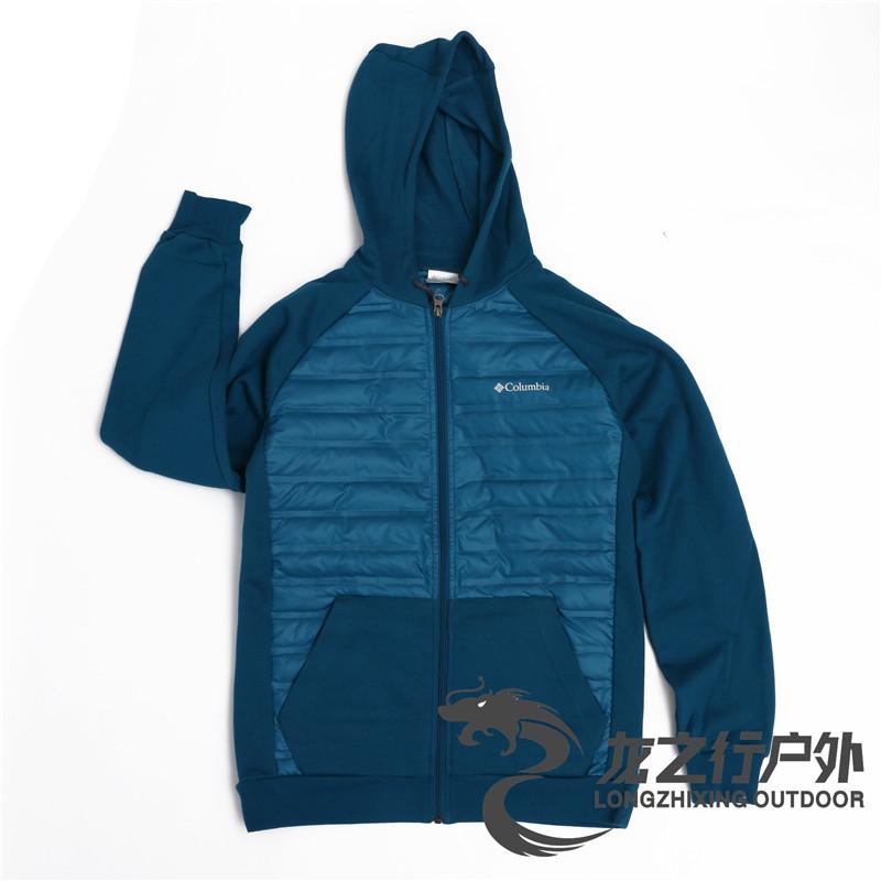 2019秋冬新款Columbia哥伦比亚户外男开衫连帽保暖羽绒卫衣AE1170