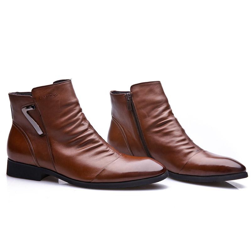 盛威保罗男式靴子尖头皮靴男头层牛皮男士短靴秋冬季高帮皮鞋男
