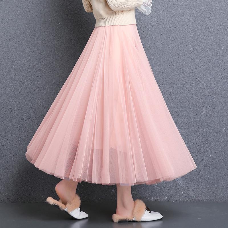 裙子 超火半身仙女裙长裙适合胯大腿粗 ins 网纱半身裙中长款纱裙