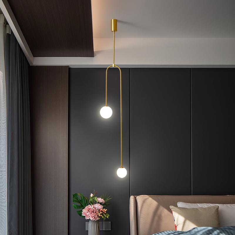 北欧床头吊灯现代简约极简创意轻奢灯具玻璃球网红沙发卧室小吊灯