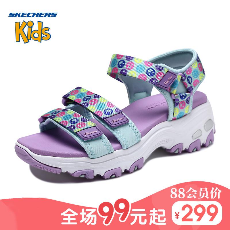 Skechers斯凯奇女童鞋新款D'lites可爱表情凉鞋亲子熊猫鞋664079L