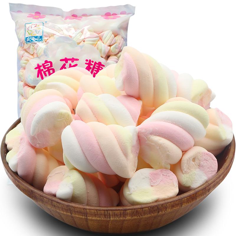 盛之花彩虹扭花棉花糖草莓味烧烤蛋糕烘焙装饰粉色棉花糖1000g