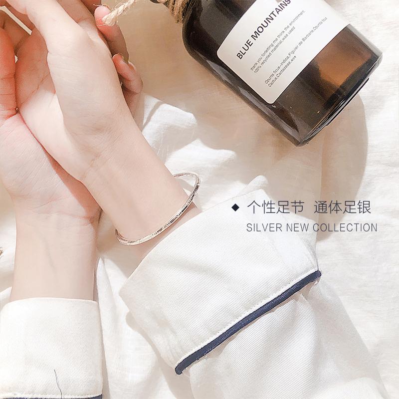 银春春足银竹叶 简约手镯女韩版学生森系小清新银镯子闺蜜礼物  chic