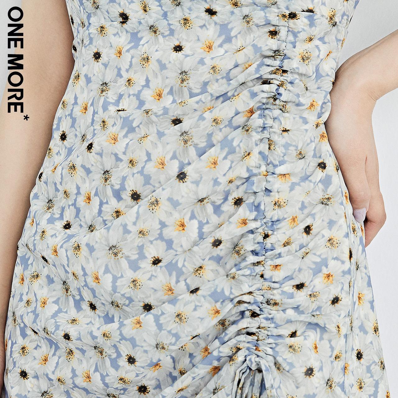 领收腰显瘦连衣裙碎花气质抽皱裙子女 夏季新款小碎花  ONEMORE2020 V