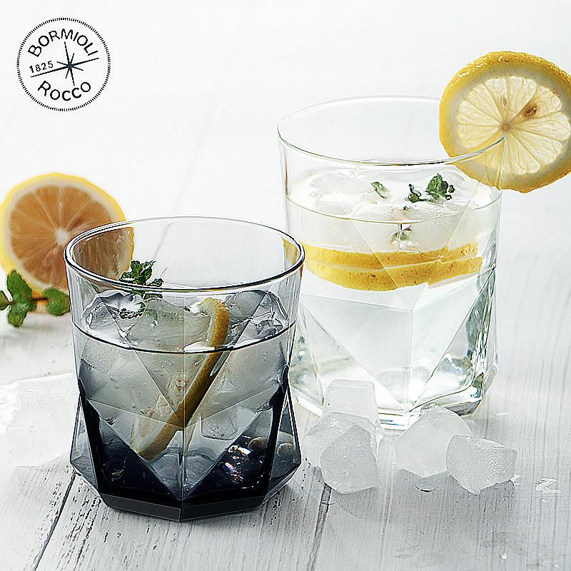義大利進口玻璃杯果汁杯透明水杯套裝 家用彩色耐熱鑽石創意盃子