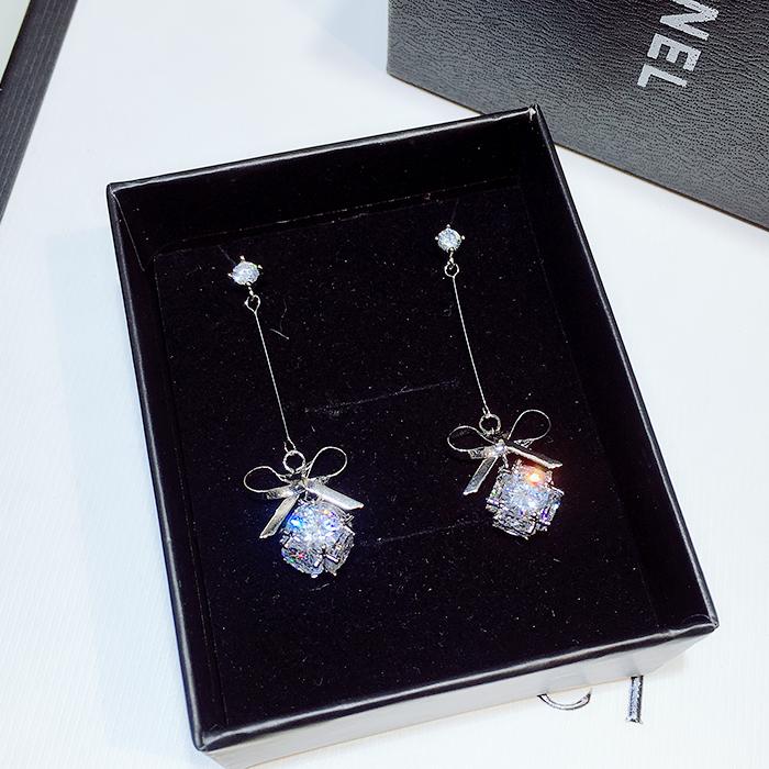 韩国微镶锆石银针 银针长款蝴蝶结长款气质耳环耳坠耳线  925