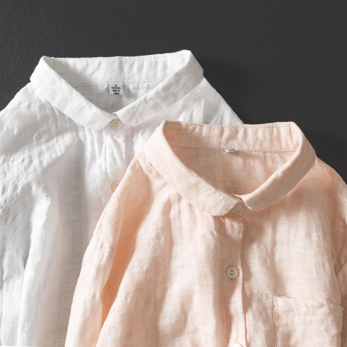双层棉纱衬衫女全棉衬衣长袖泡泡格子娃娃领长袖打底上衣薄款夏季