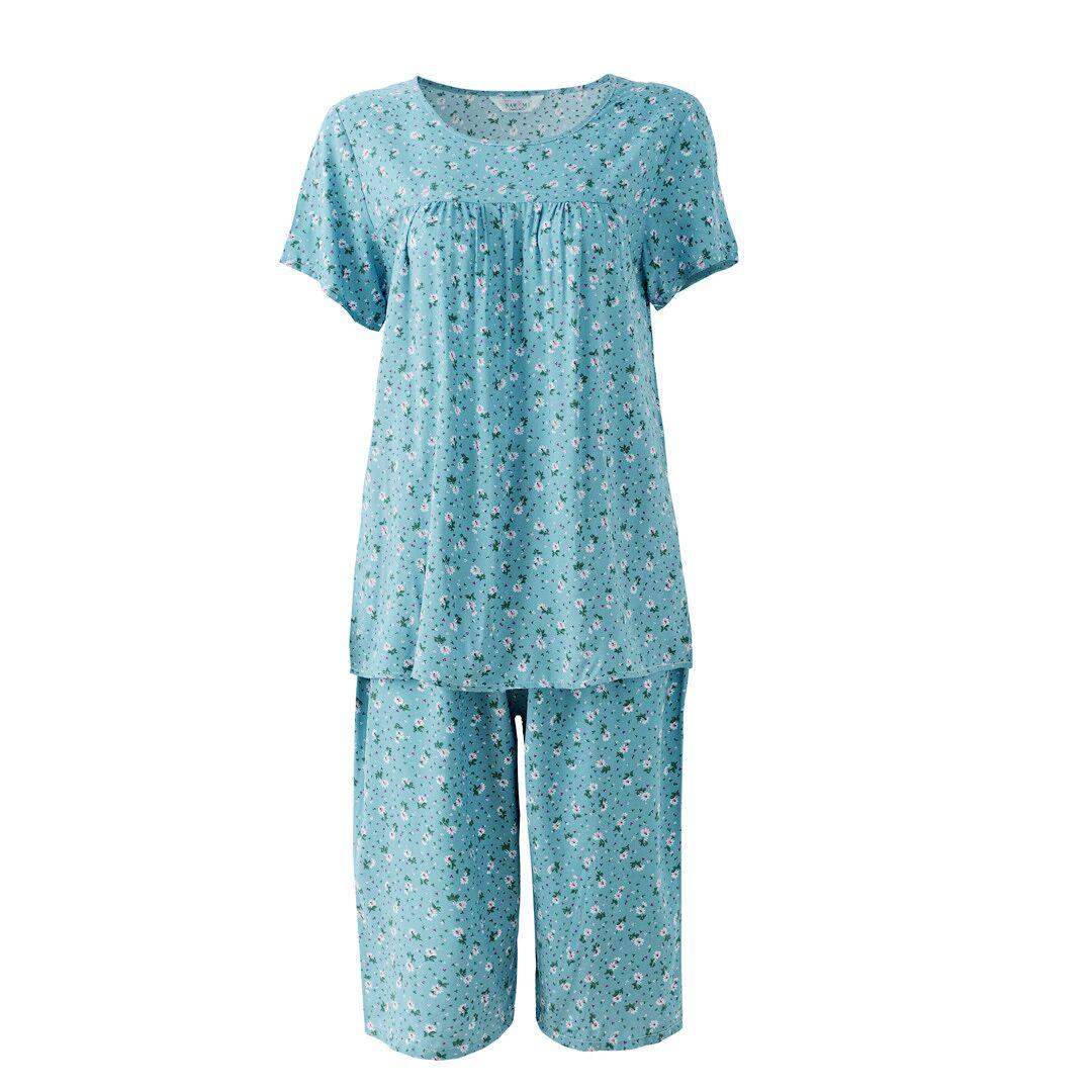 夏季中老年人睡衣女纯棉绸妈妈薄款短袖中年家居服人造棉两件套装