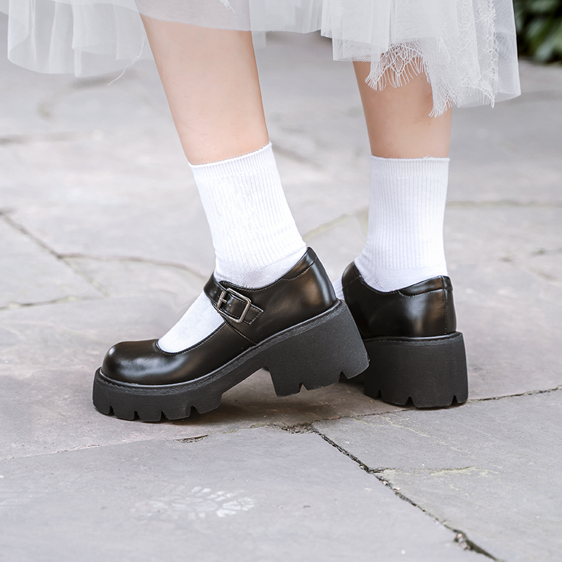 伯爵猫真皮厚底漆皮玛丽珍鞋日系学院风增高小皮鞋浅口 制服鞋女  JK
