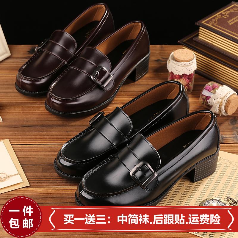 日本日系學院風雪松中跟加高學生鞋黑色/茶色正統JK制服鞋COS女款