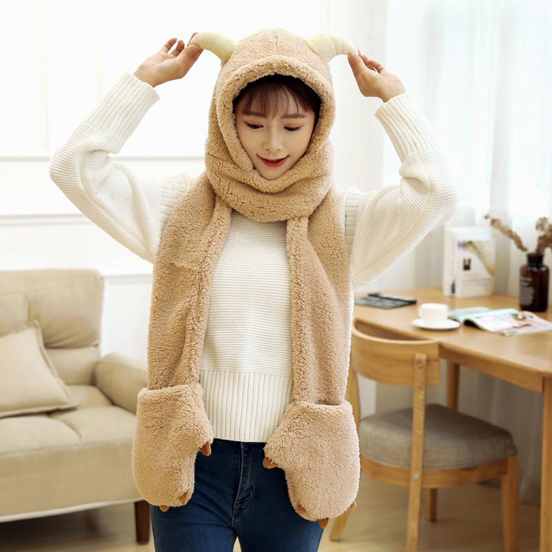 韩版亲子可爱羊角冬天男女童儿童围巾帽子手套三件套装一体护耳帽