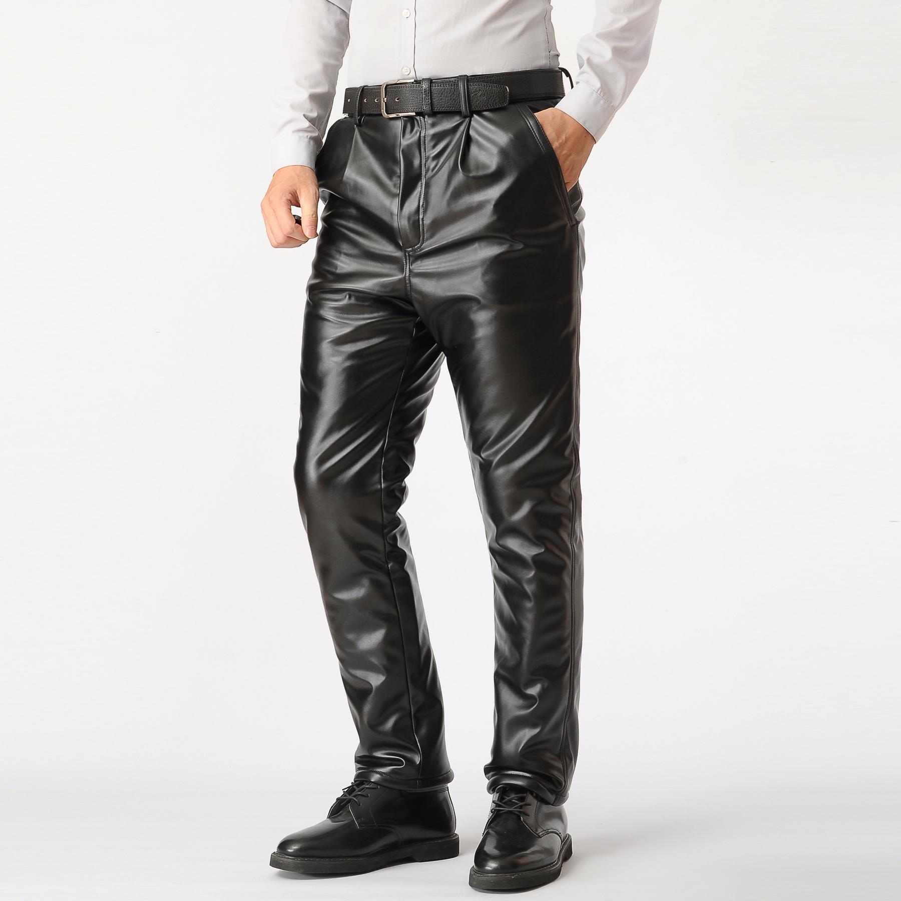 男士皮裤男加绒加厚摩托车防风防水中老年秋冬季保暖棉裤宽松大码