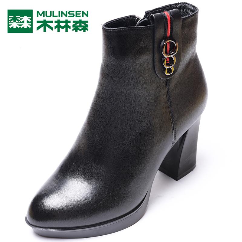 木林森正品女鞋冬季新款时尚英伦尖头粗跟真皮高帮女靴BW7463363
