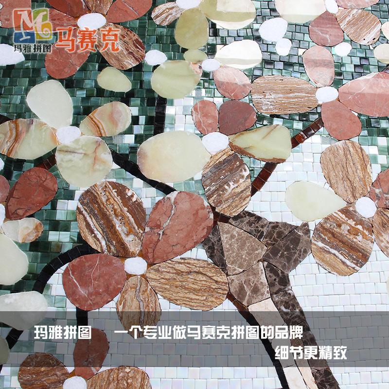 精品 幸福树发财树 玻璃马赛克拼图客厅玄关背景墙瓷砖拼花精剪画