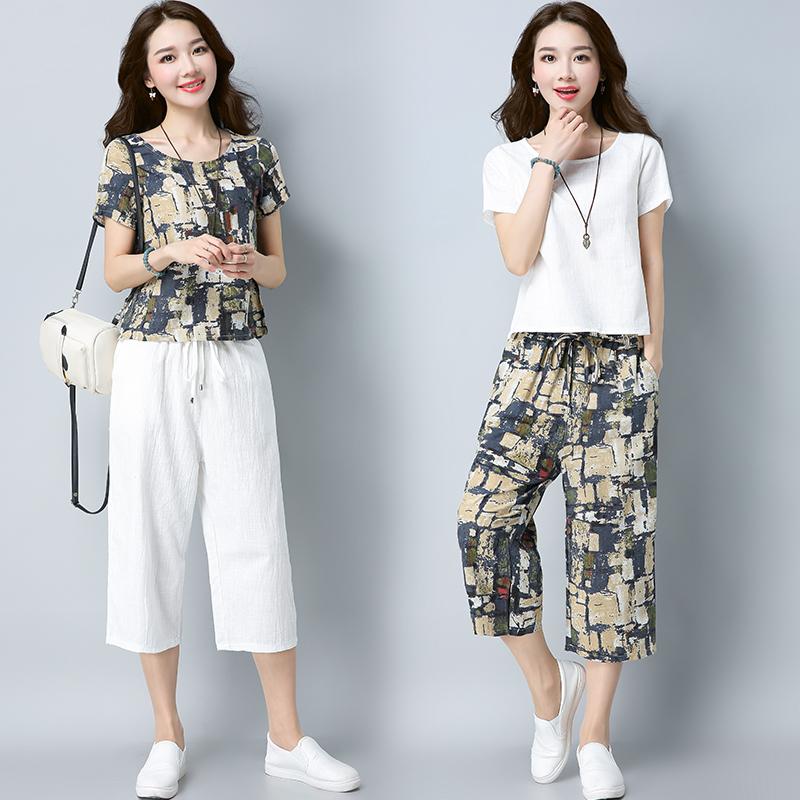 民族风大码女装2019夏装棉麻套装七分裤加上衣显瘦亚麻两件套宽松