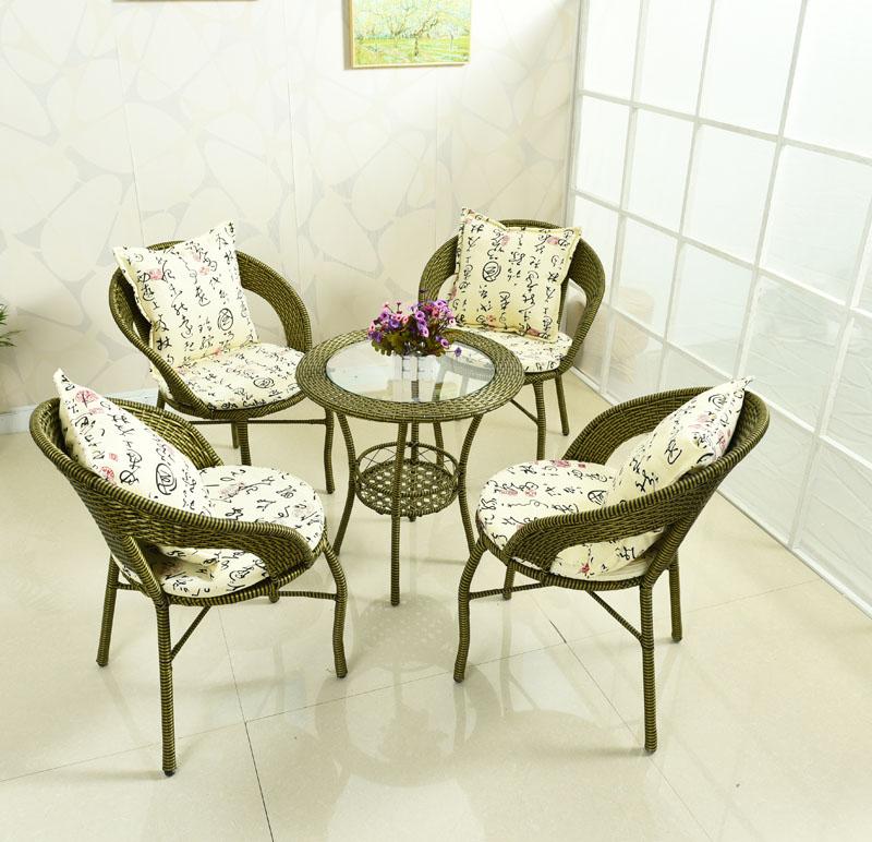 阳台桌椅藤椅三件套组合小茶几简约藤编藤椅子休闲户外室外靠背椅