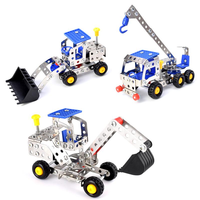 儿童益智金属拼装玩具男孩动手组装模型工程车 创意拆装玩具积木
