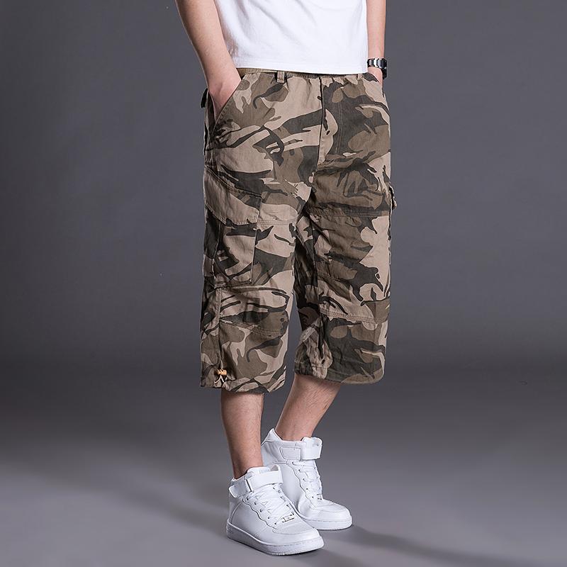 夏季多口袋七分裤休闲短裤子男工装裤迷彩宽松运动裤薄款中裤大码