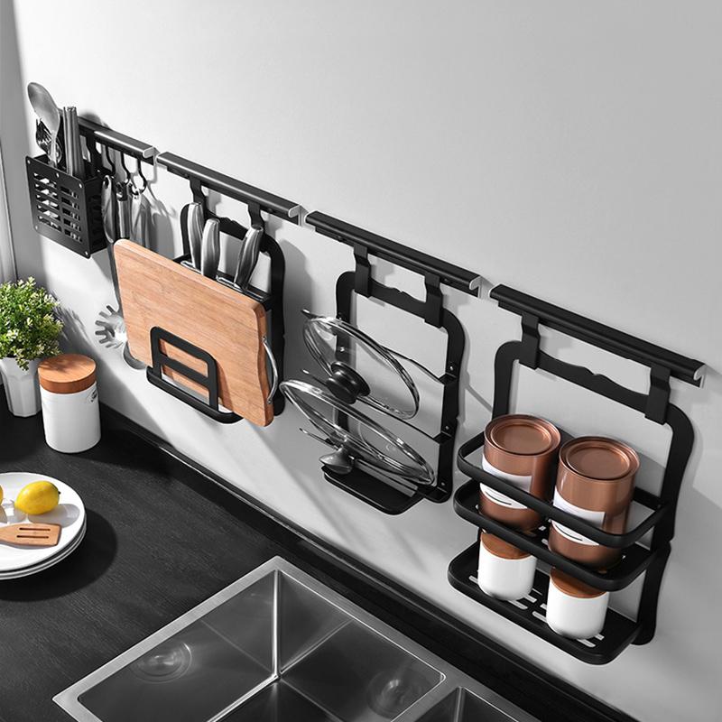黑色免打孔厨房置物架壁挂墙上刀架调味料收纳架用品挂件挂架挂杆