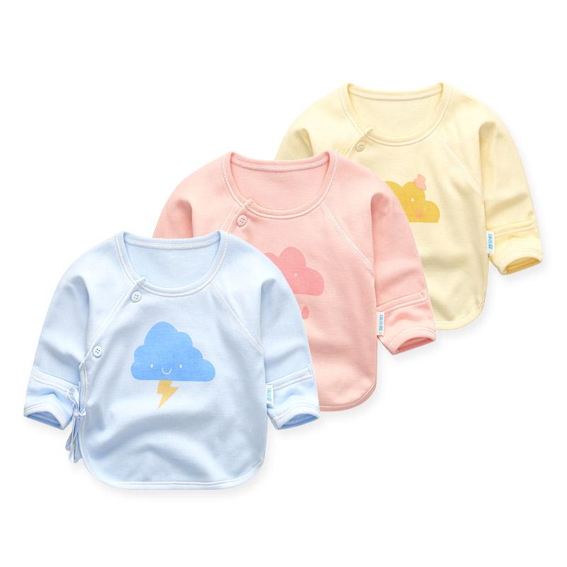 新生儿衣服半背衣0-3个月初生婴儿上衣宝宝纯棉和尚服单件春秋冬