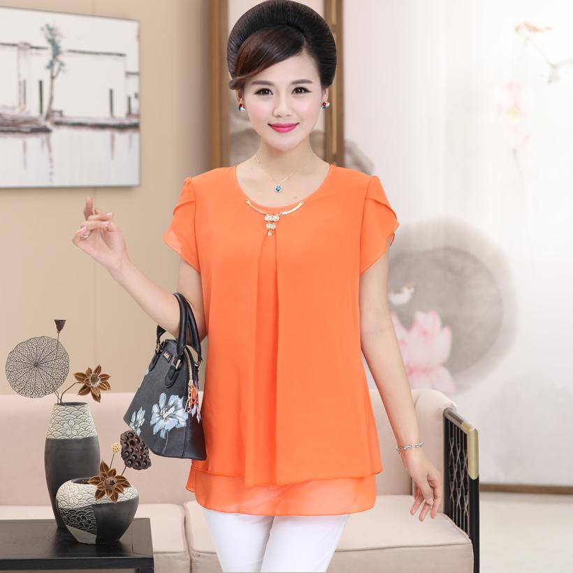 中老年女装夏季短袖T恤女中年40-50岁小衫上衣中年妈妈夏装雪纺衫