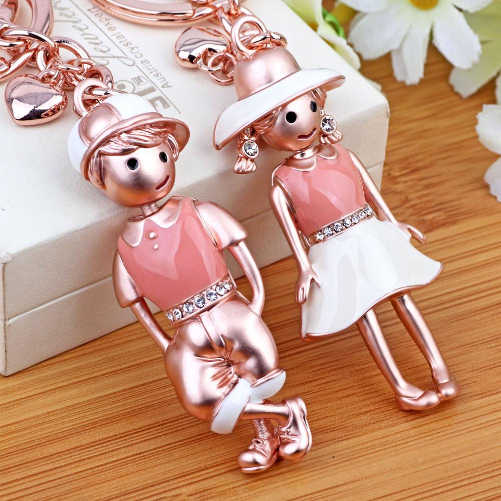 魅尚男韩国创意礼品水晶水钻情侣汽车钥匙扣女士包包挂件饰品圈链