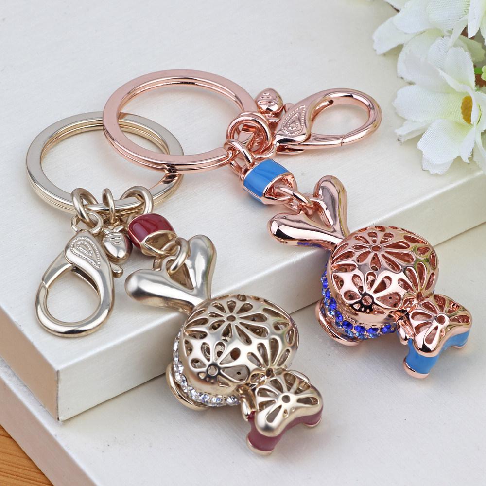 魅尚韩国创意钥匙链水钻兔子情侣汽车钥匙扣女士包挂饰挂件圈礼品