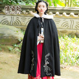 Han Chinese clothing female winter wind vintage embroidery plus thick velvet hooded cape cloak warm coat Chinese elements of antiquity