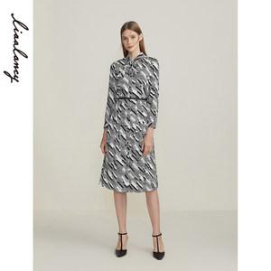 朗姿商场同款2020年冬季POLO领真丝黑白撞色收腰高腰显瘦连衣裙女