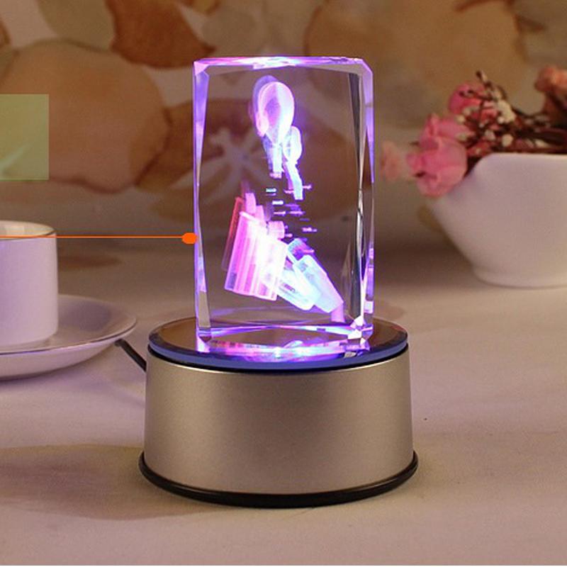 男女朋友生日礼品物摆件蛋糕蜡烛 定制创意闪光夜光水晶音乐盒