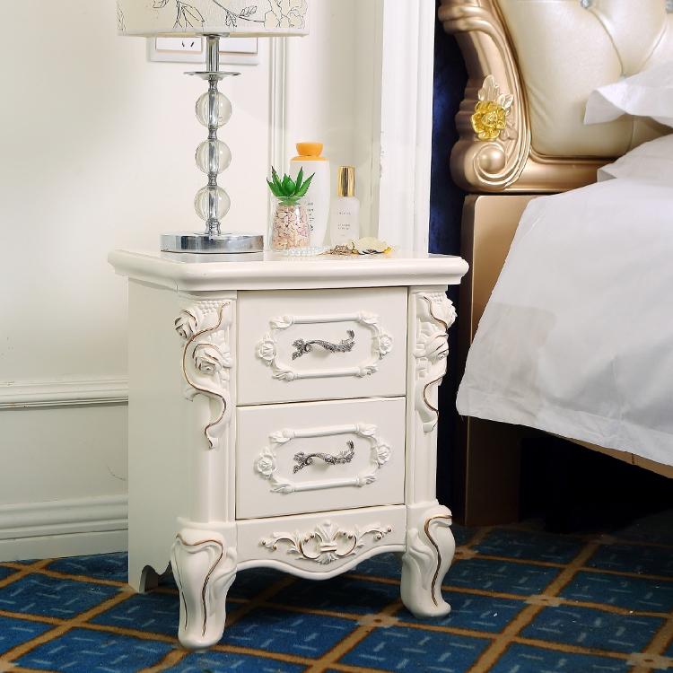 欧式床头柜小整装简约40cm北欧储物柜田园实木白色床边柜美式简欧