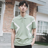 UOOHE summer short-sleeved shirt POLO men hit color stitching lapel Paul tide brand t-shirt loose style trend of men's Harbor