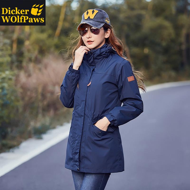 迪克尔狼爪户外冲锋衣女男中长款两件套三合一可拆卸加厚秋冬外套
