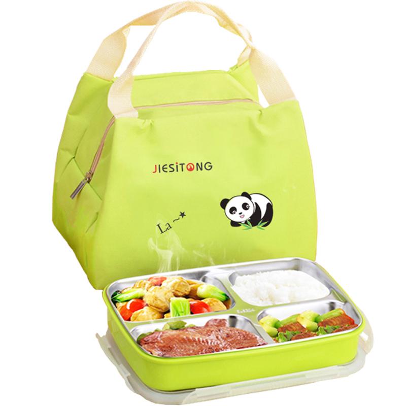 防烫带盖饭盒学生小学不锈钢儿童便当盒小学生餐盘分格餐盒分隔型