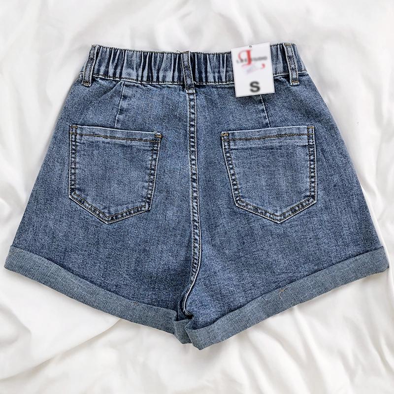 字显瘦短裤 松紧高腰卷边直筒牛仔裤夏季薄款简约百搭外穿  REAN A